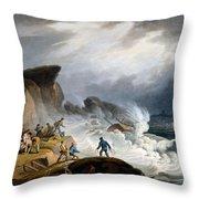 Robin Hoods Bay, Yorkshire, 1825 Throw Pillow by Francis Nicholson