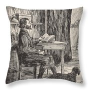 Robinson Crusoe In His Cave Throw Pillow by English School