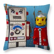 Robot Friends Throw Pillow by Garry Gay