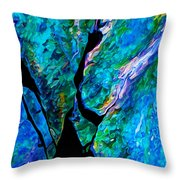 Rock Art 17 In Aqua Throw Pillow by Bill Caldwell -        ABeautifulSky Photography