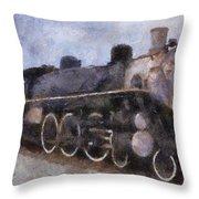 Rock Island Locomotive Engine Photo Art Throw Pillow by Thomas Woolworth