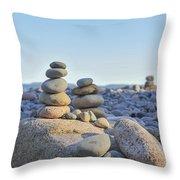 Rock Piles Zen Stones Little Hunters Beach Maine Throw Pillow by Terry DeLuco