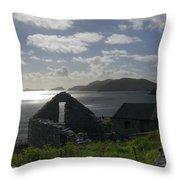 Rock Ruin By The Ocean - Ireland Throw Pillow by Mike McGlothlen