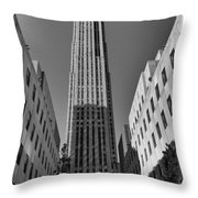 Ge Building In Black And White Throw Pillow by Dan Sproul