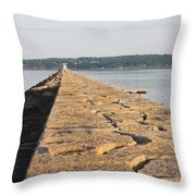 Rockland Breakwater Lighthouse Coast Of Maine Throw Pillow by Keith Webber Jr