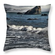 Rocks In The Surf Throw Pillow by Adam Jewell