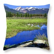 Rocky Mountains River Throw Pillow by Olivier Le Queinec