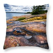 Rocky Shore Of Georgian Bay Throw Pillow by Elena Elisseeva