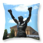 Rocky Statue Throw Pillow by Lou Ford