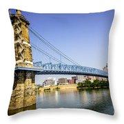 Roebling Bridge In Cincinnati Ohio Throw Pillow by Paul Velgos