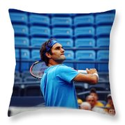 Roger Federer  Throw Pillow by Nishanth Gopinathan