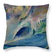 Rogue Wave Throw Pillow by Michael Creese