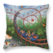 Roller Coaster Throw Pillow by Linda Mears