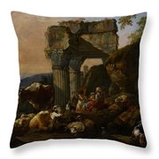 Roman Landscape With Cattle And Shepherds Throw Pillow by Johann Heinrich Roos