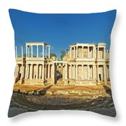 roman theatre in Merida Throw Pillow by Rudi Prott