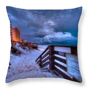 Romar Beach Clouds Throw Pillow by Michael Thomas