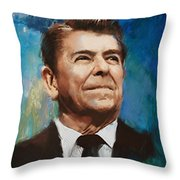 Ronald Reagan Portrait 6 Throw Pillow by Corporate Art Task Force