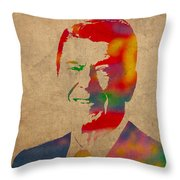 Ronald Reagan Watercolor Portrait on Worn Distressed Canvas Throw Pillow by Design Turnpike