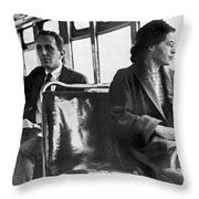 Rosa Parks On Bus Throw Pillow by Underwood Archives