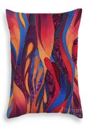 Rose And Blue Silk Design 2 Throw Pillow by Sharon Freeman