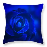 Rose in Blue Throw Pillow by Sandy Keeton
