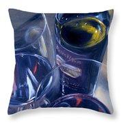 Rosenblum And Glasses Throw Pillow by Donna Tuten