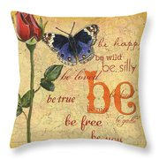Roses And Butterflies 1 Throw Pillow by Debbie DeWitt