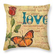 Roses And Butterflies 2 Throw Pillow by Debbie DeWitt
