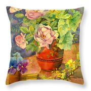 Roses And Pansies Throw Pillow by Julia Rowntree