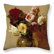 Roses Throw Pillow by Ignace Henri Jean Fantin-Latour