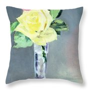 Roses In A Champagne Glass Throw Pillow by Edouard Manet