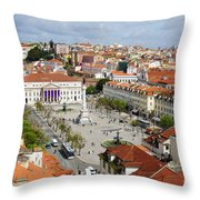 Rossio Square Throw Pillow by Carlos Caetano