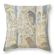 Rouen Cathedral West Facade Throw Pillow by Claude Monet