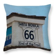 Route 66 - End of the Trail Throw Pillow by Kim Hojnacki