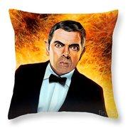 Rowan Atkinson Alias Johnny English Throw Pillow by Paul  Meijering