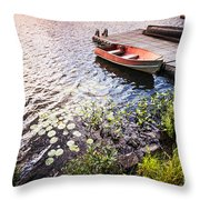 Rowboat At Lake Shore At Sunrise Throw Pillow by Elena Elisseeva