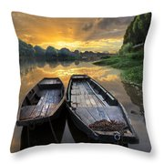 Rowboats On The River Throw Pillow by Debra and Dave Vanderlaan
