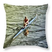 Rowing Crew Throw Pillow by Bill Cannon