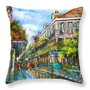 Royal at Pere Antoine Alley Throw Pillow by Dianne Parks