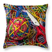 Rubber Band Ball With Sccisors Throw Pillow by Garry Gay