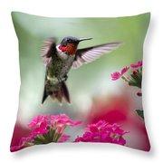 Ruby Garden Jewel Throw Pillow by Christina Rollo