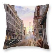 Rue Saint Dominique Sunset Through Eiffel Tower   Throw Pillow by Irina Sztukowski