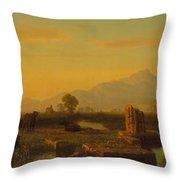 Ruins Of Paestum Throw Pillow by Albert Bierstadt