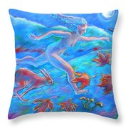 Running With The Hare Throw Pillow by Trudi Doyle