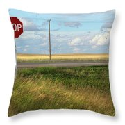 Rural Stop Sign On The Prairies  Throw Pillow by Sandra Cunningham