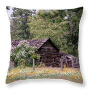 Rustic Cabin In The Mountains Throw Pillow by Athena Mckinzie