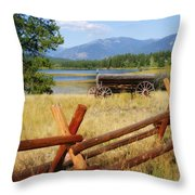 Rustic Wagon Throw Pillow by Marty Koch