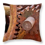 Rusty Metal Gears Throw Pillow by Phyllis Denton