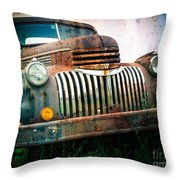 Rusty Old Chevy Pickup Throw Pillow by Edward Fielding