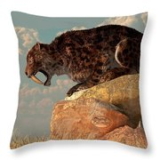 Saber-tooth On A Rock Throw Pillow by Daniel Eskridge